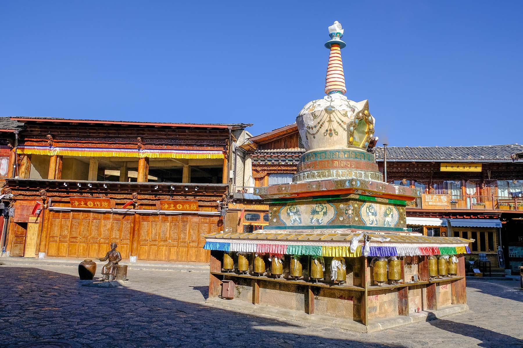 Tempelbau in der Altstadt von Shangrila, Yunnan