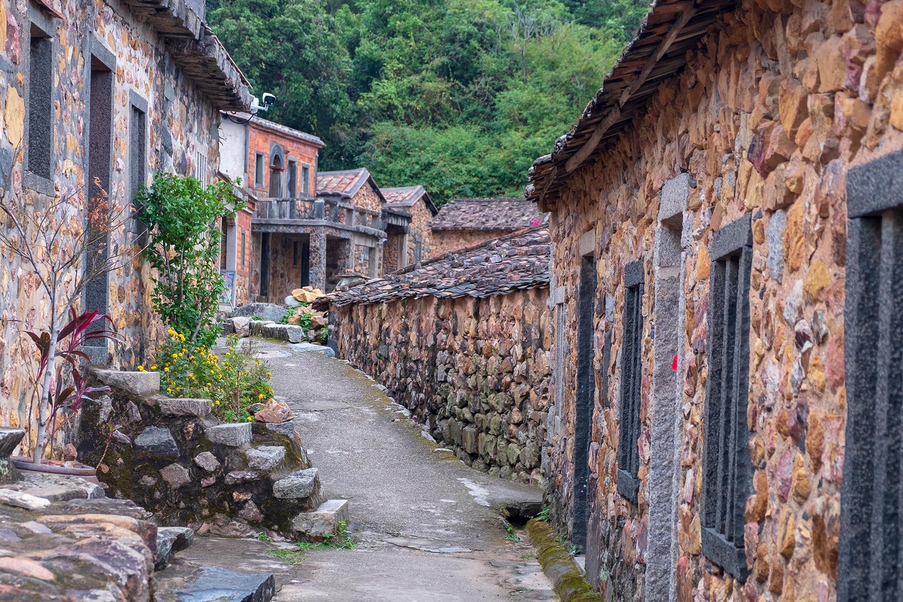 Enge Gasse in Zhangjiao in der Provinz Fujian, China