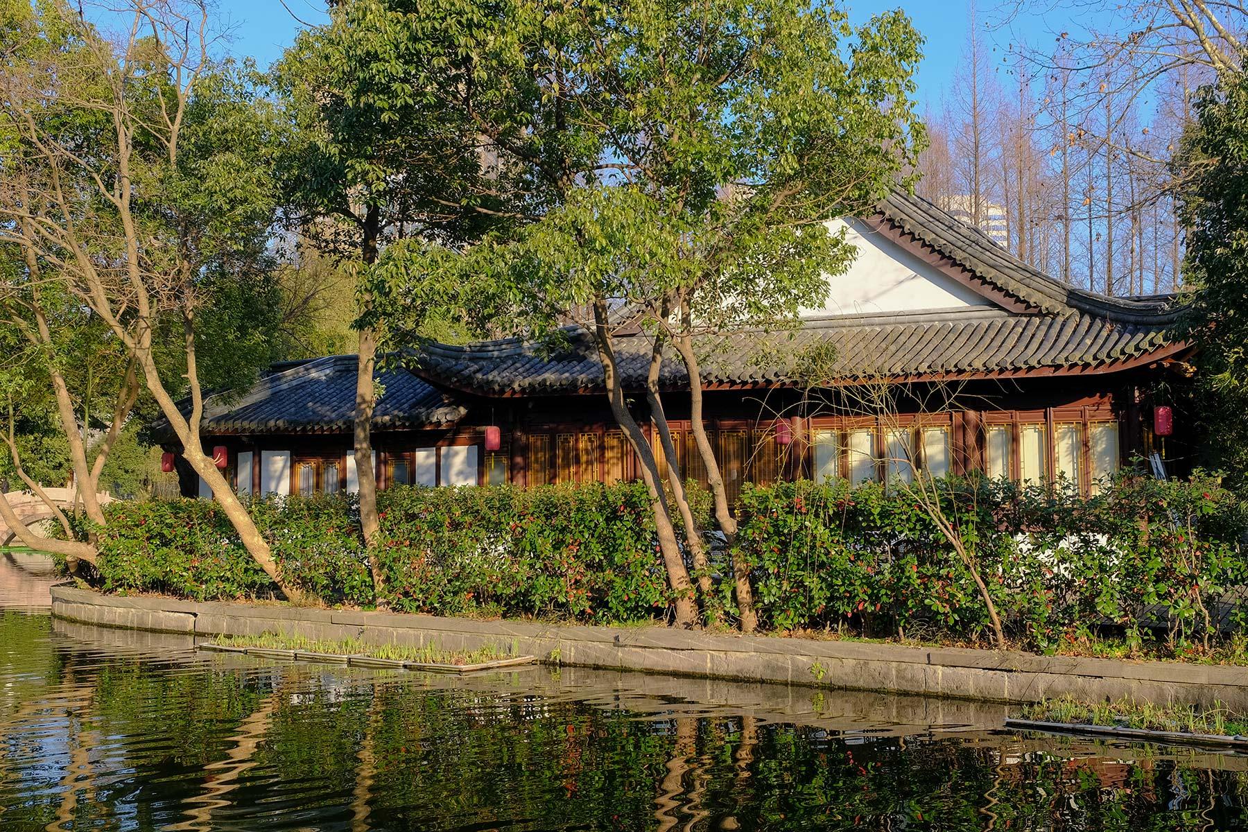 Yuehu Park im Frühling in Ningbo, China