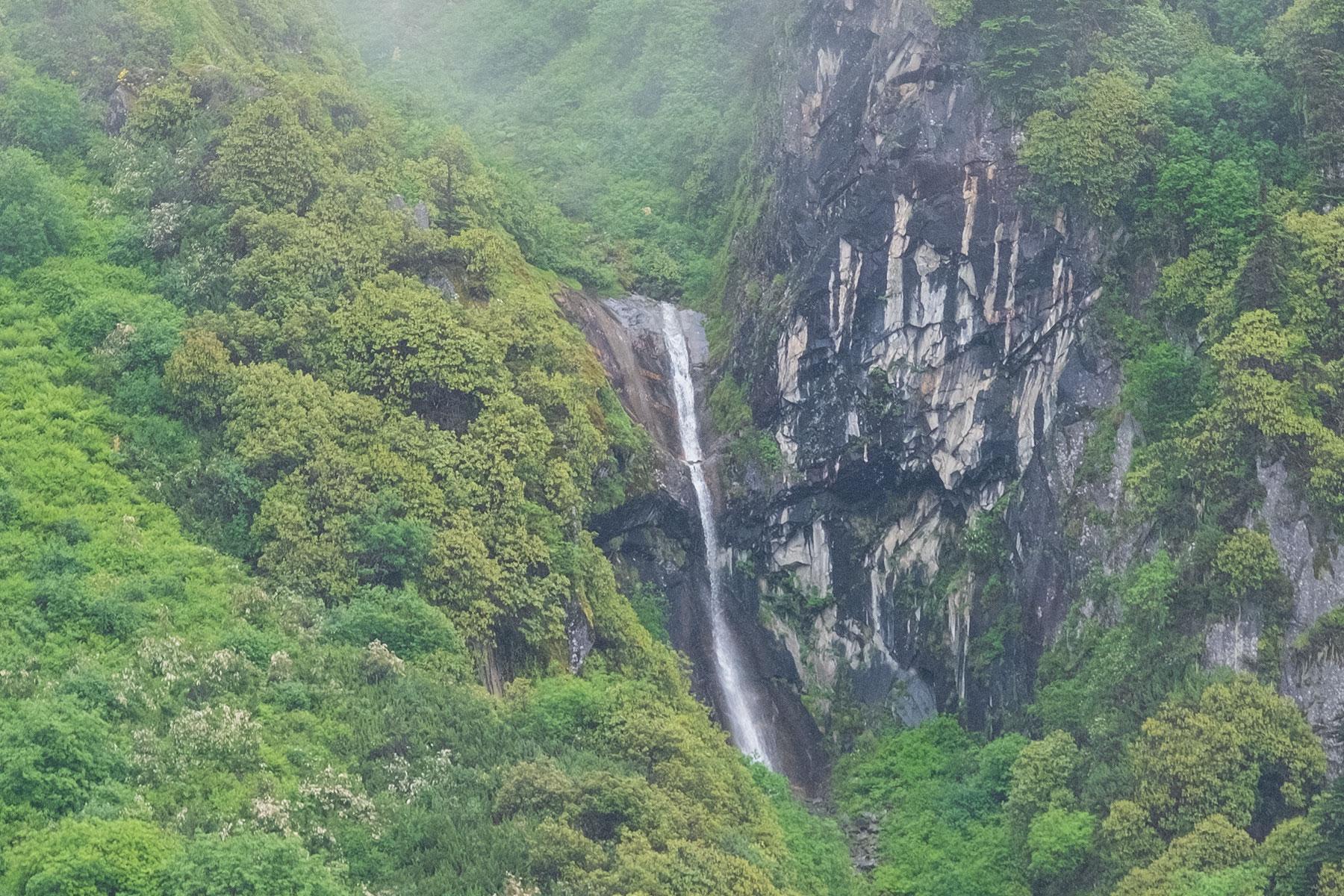 Wasserfall im Vogel im Hailuogou Gletscher Park in Sichuan