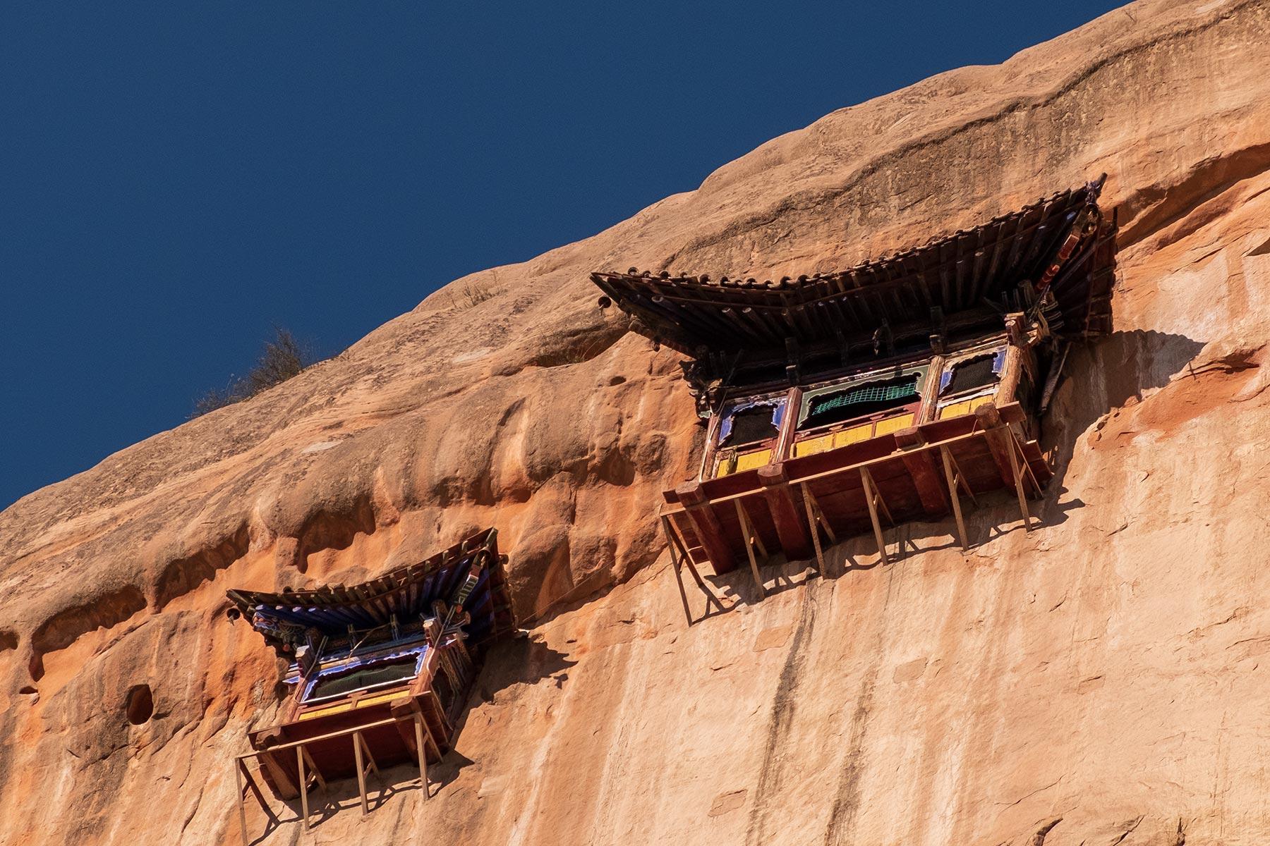 Blick auf Mati Tempel in Gansu China