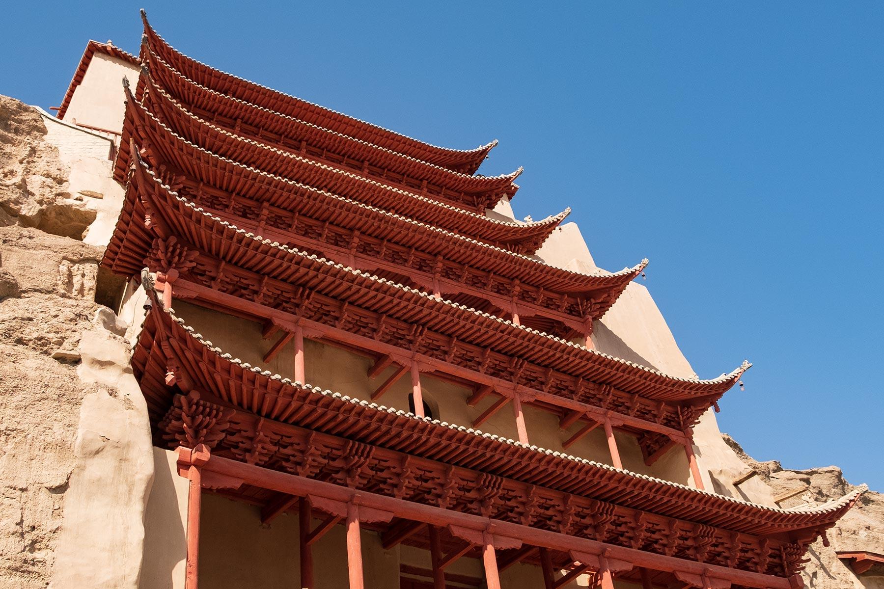 Tempel an den Mogao Höhlen in Gansu in China