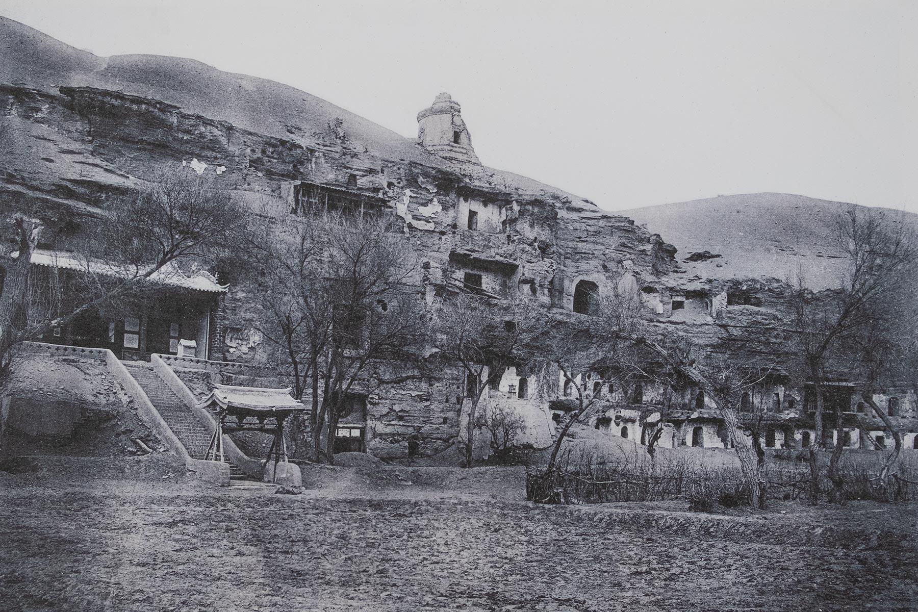Mogao Höhlen Geschichte Foto Schwarz Weiß