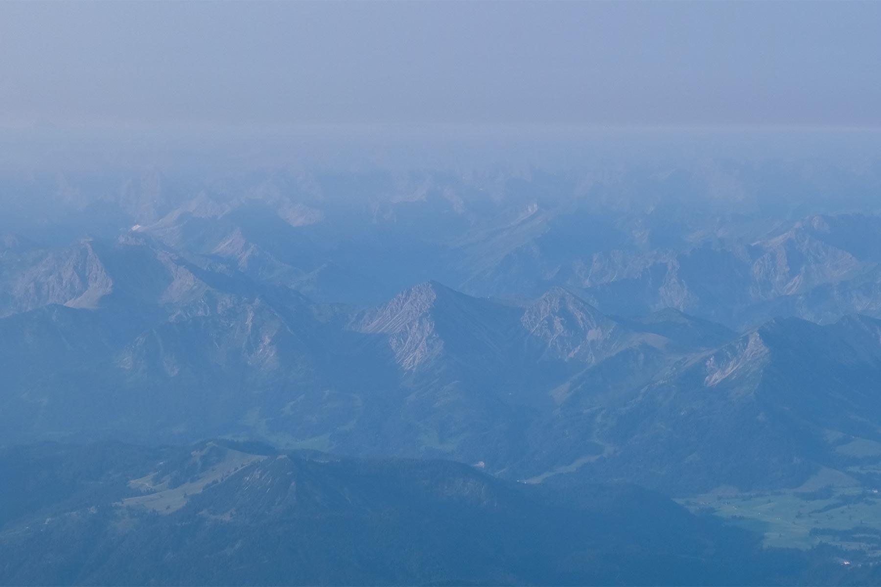Blick auf die Alpen aus dem Allgäuer Büble Bier Ballon