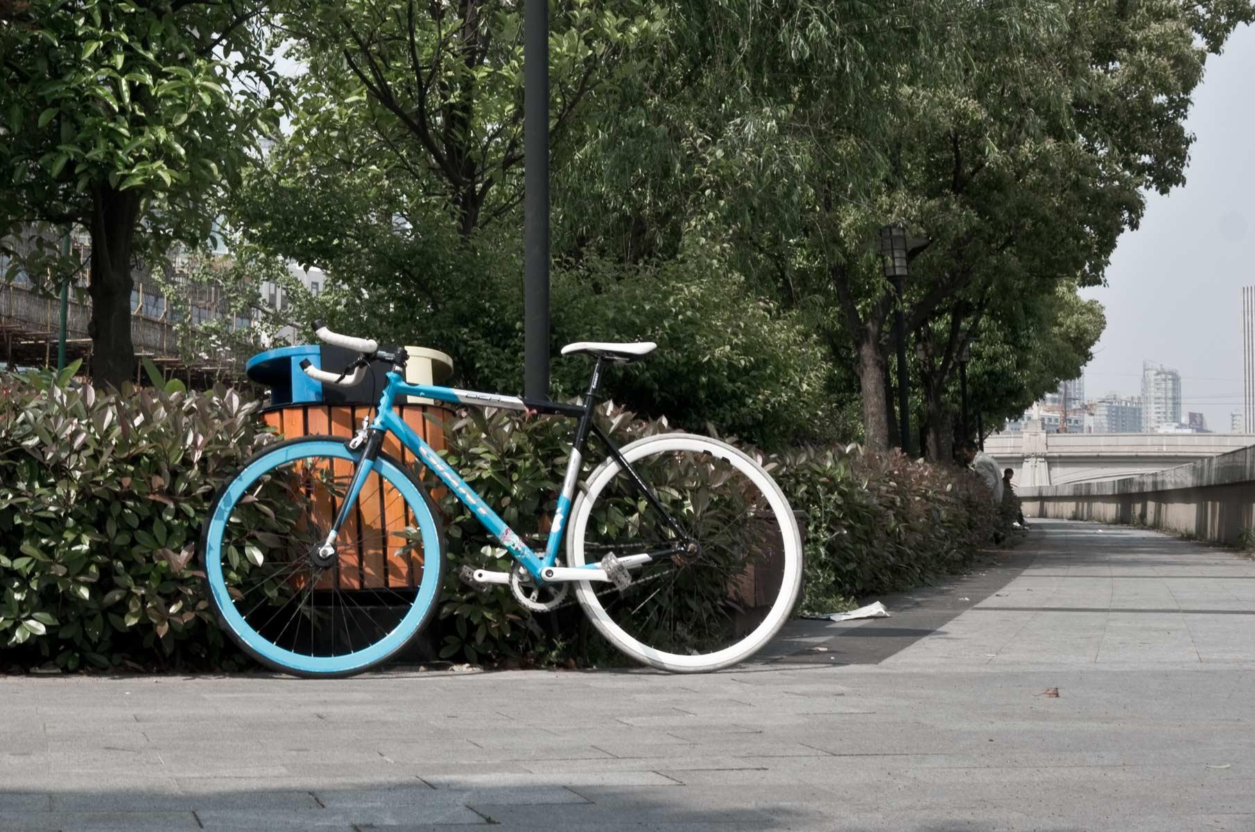 Blaues GIANT Fahrrad von Sebastian Born in Shanghai, China