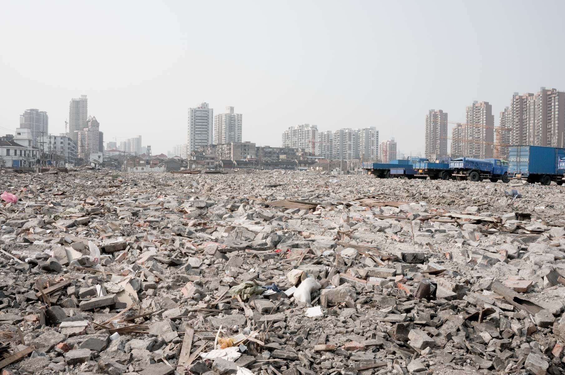 Abbruch von alten Wohnvierteln in Shanghai, China