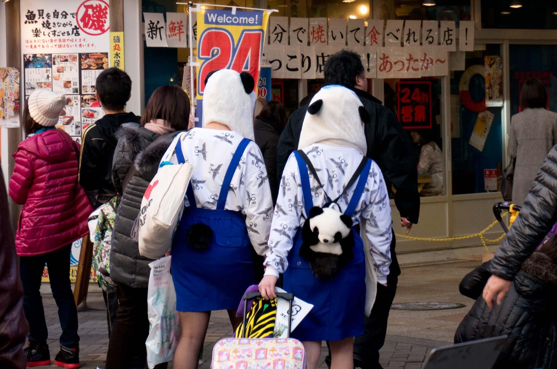 Straßenszene mit Pandamützen in Dotonbori Osaka, Japan