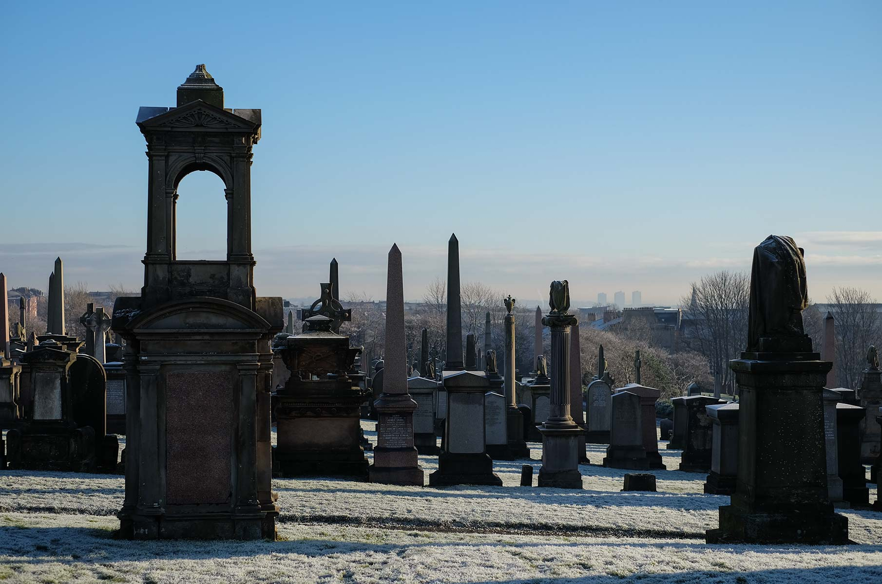 The Necropolis im Winter in Glasgow, Schottland
