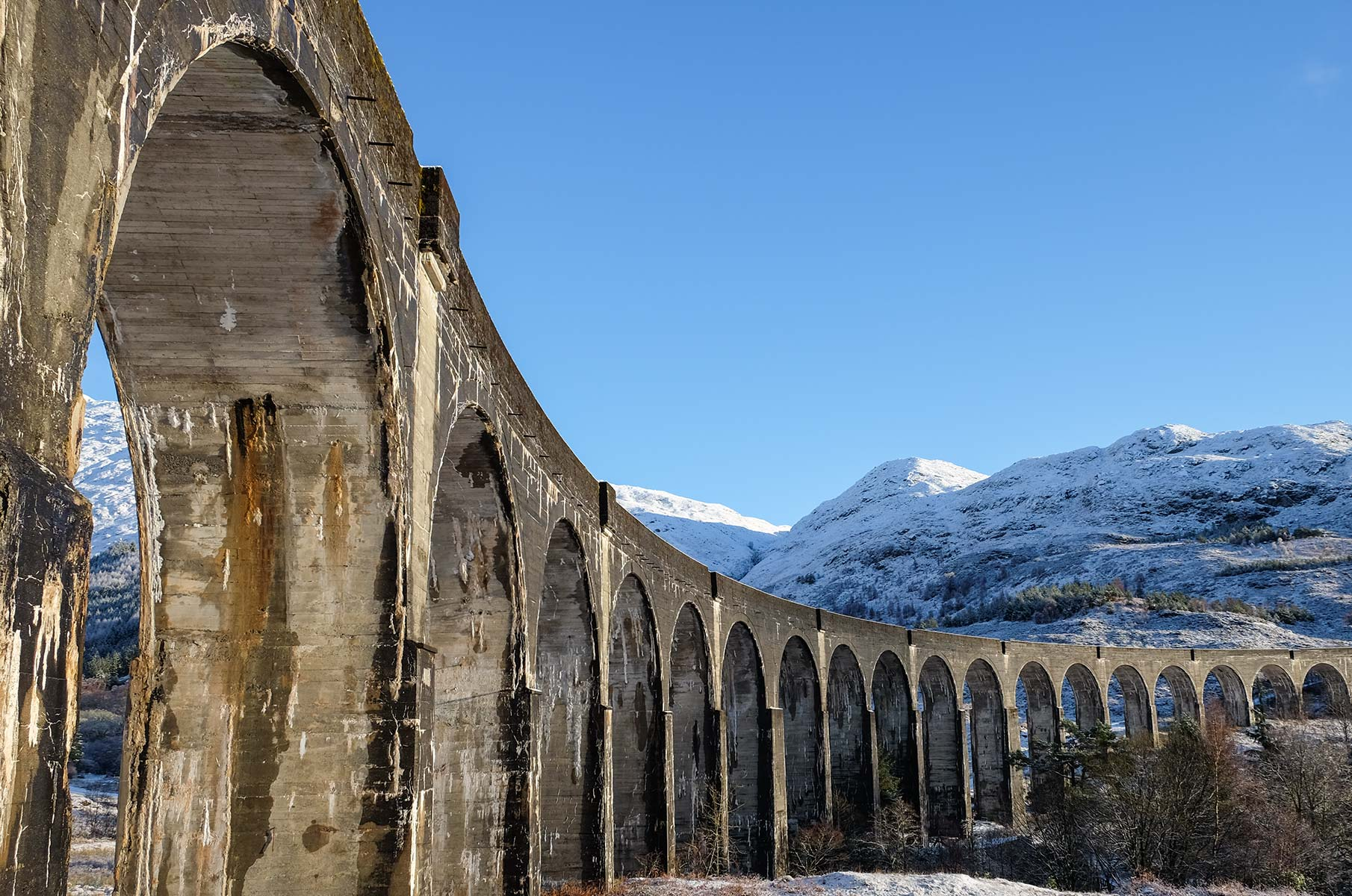 Glenfinnan Viadukt im Winter in Schottland
