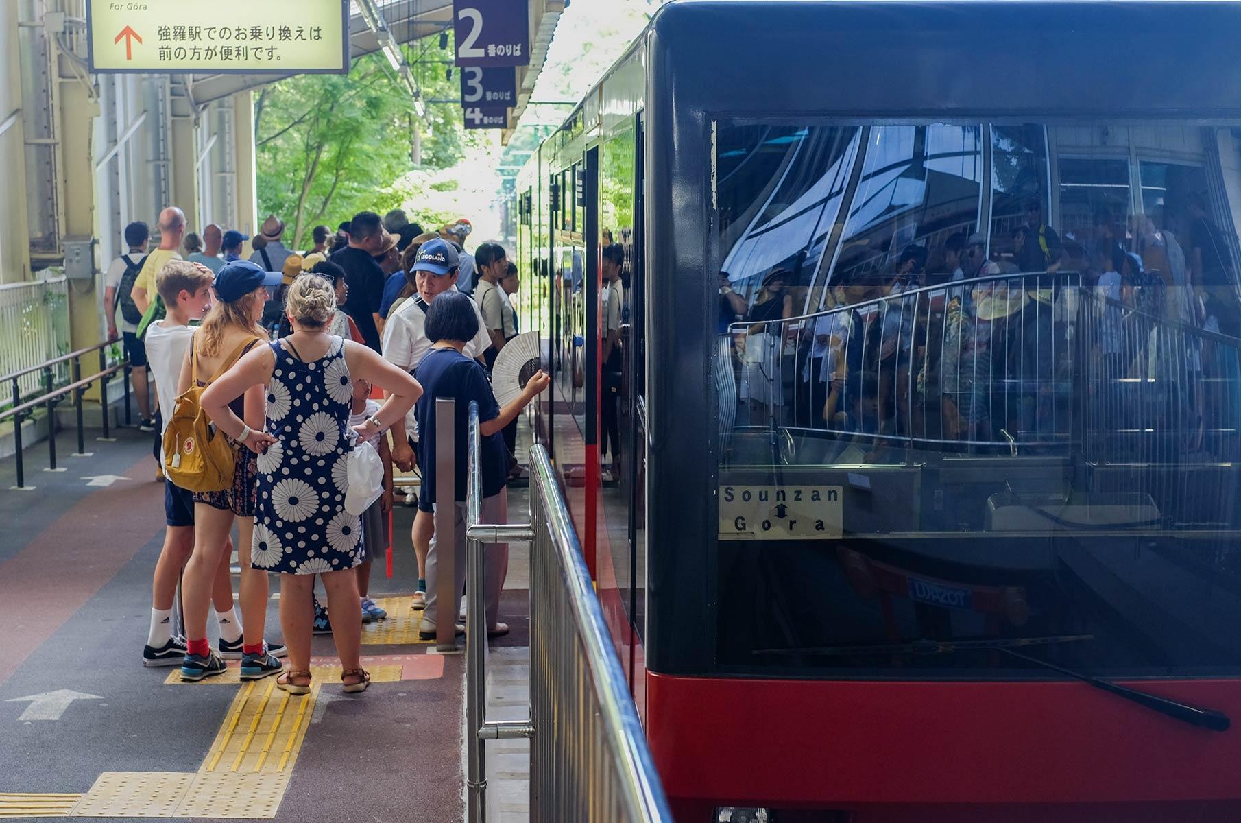 Seilbahn von Gora zur Owakudani Station in Japan