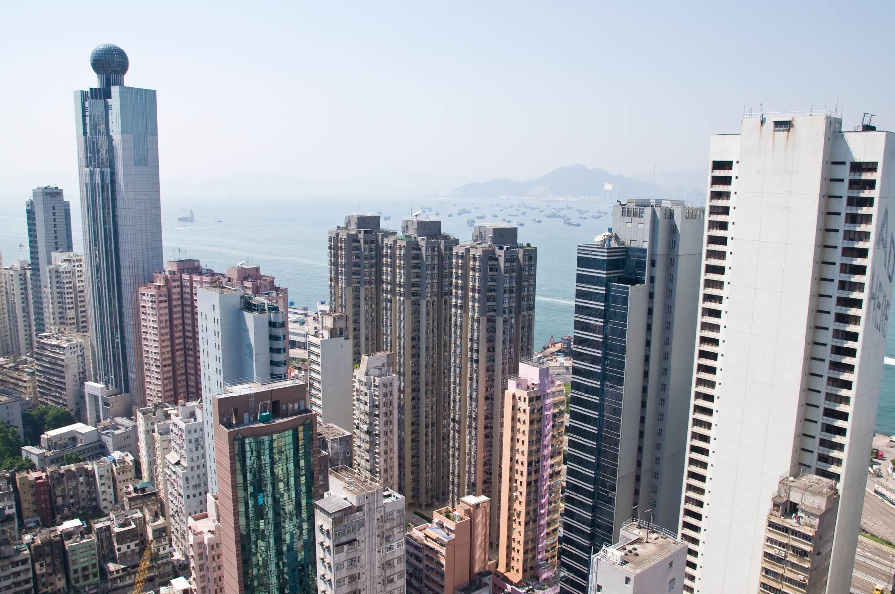 Blick vom Hochhaus auf Hongkong Island, China