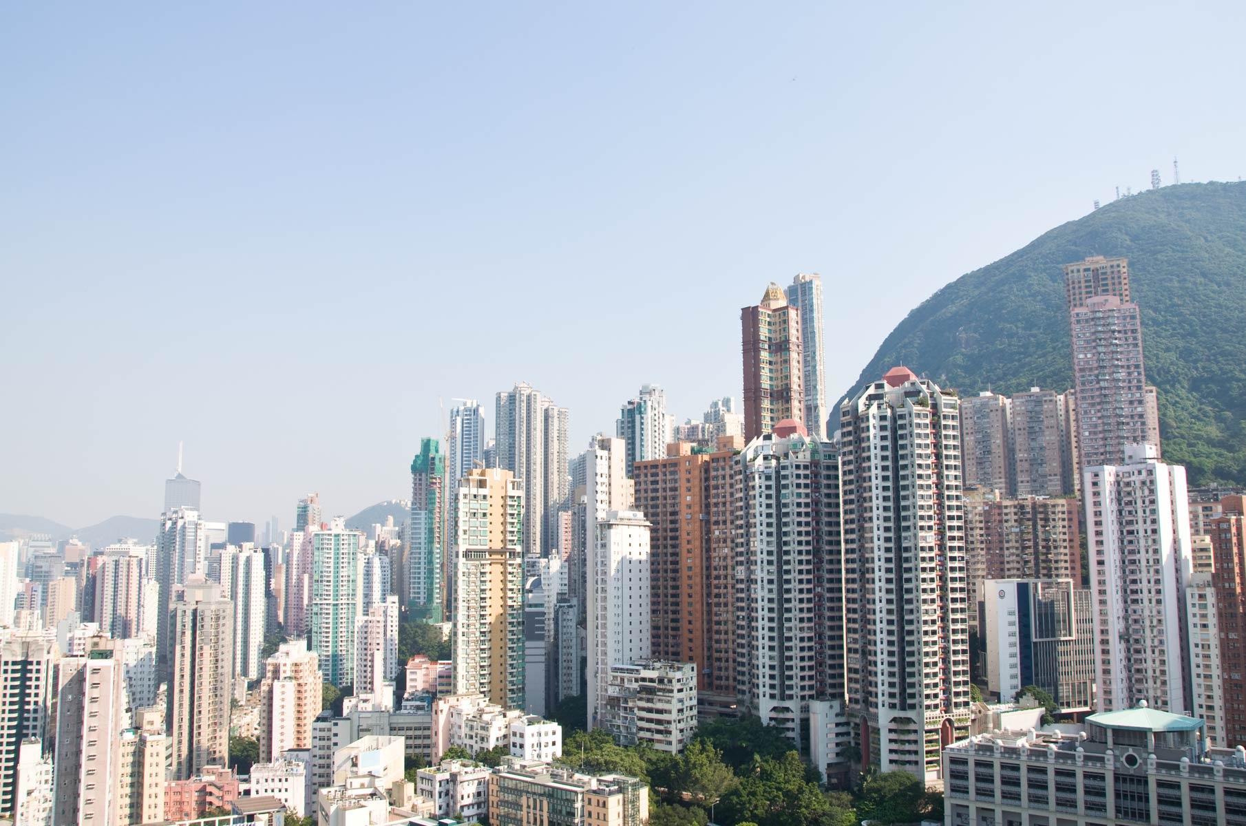 Blick vom Hochhaus auf Hongkong Island und den Peak, China