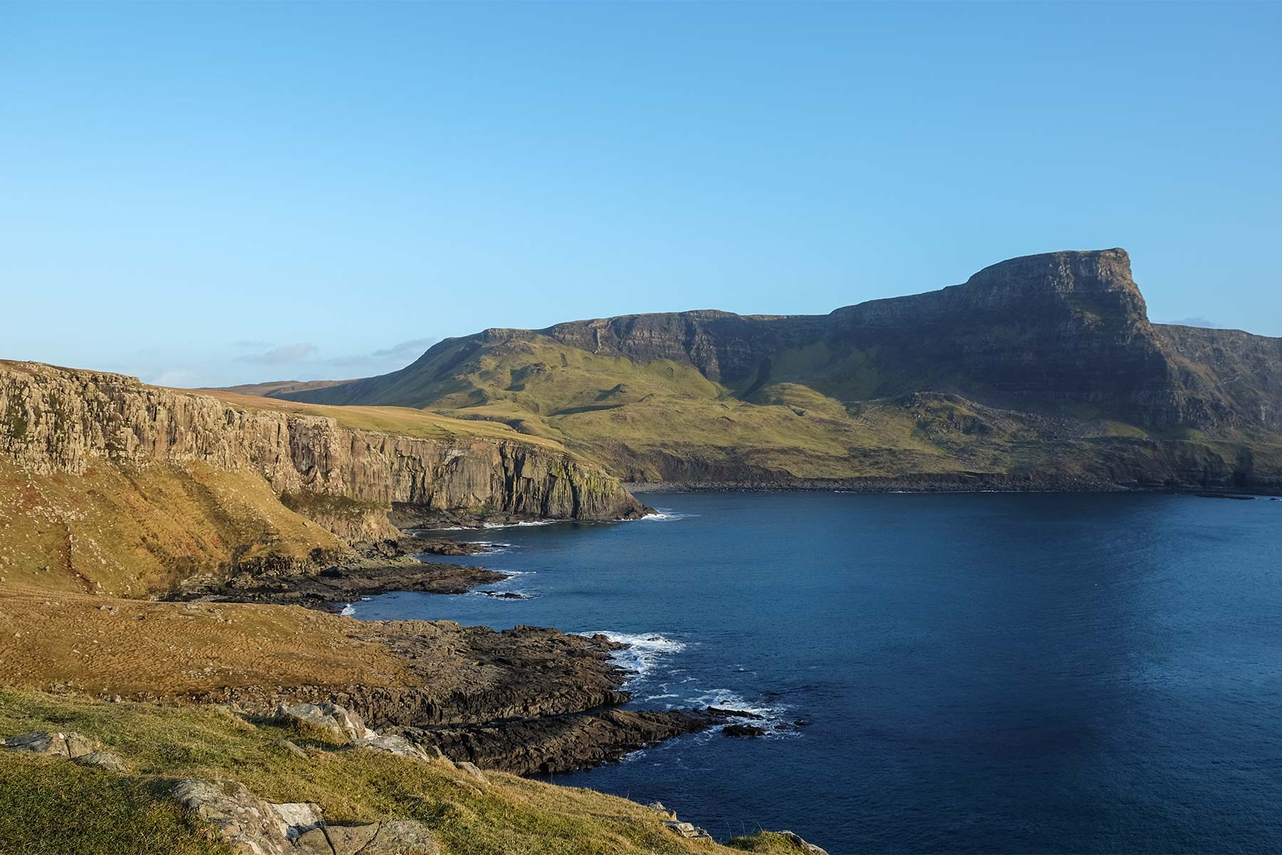 Blick vom Neist Point Leuchtturm auf der Isle of Skye, Schottland