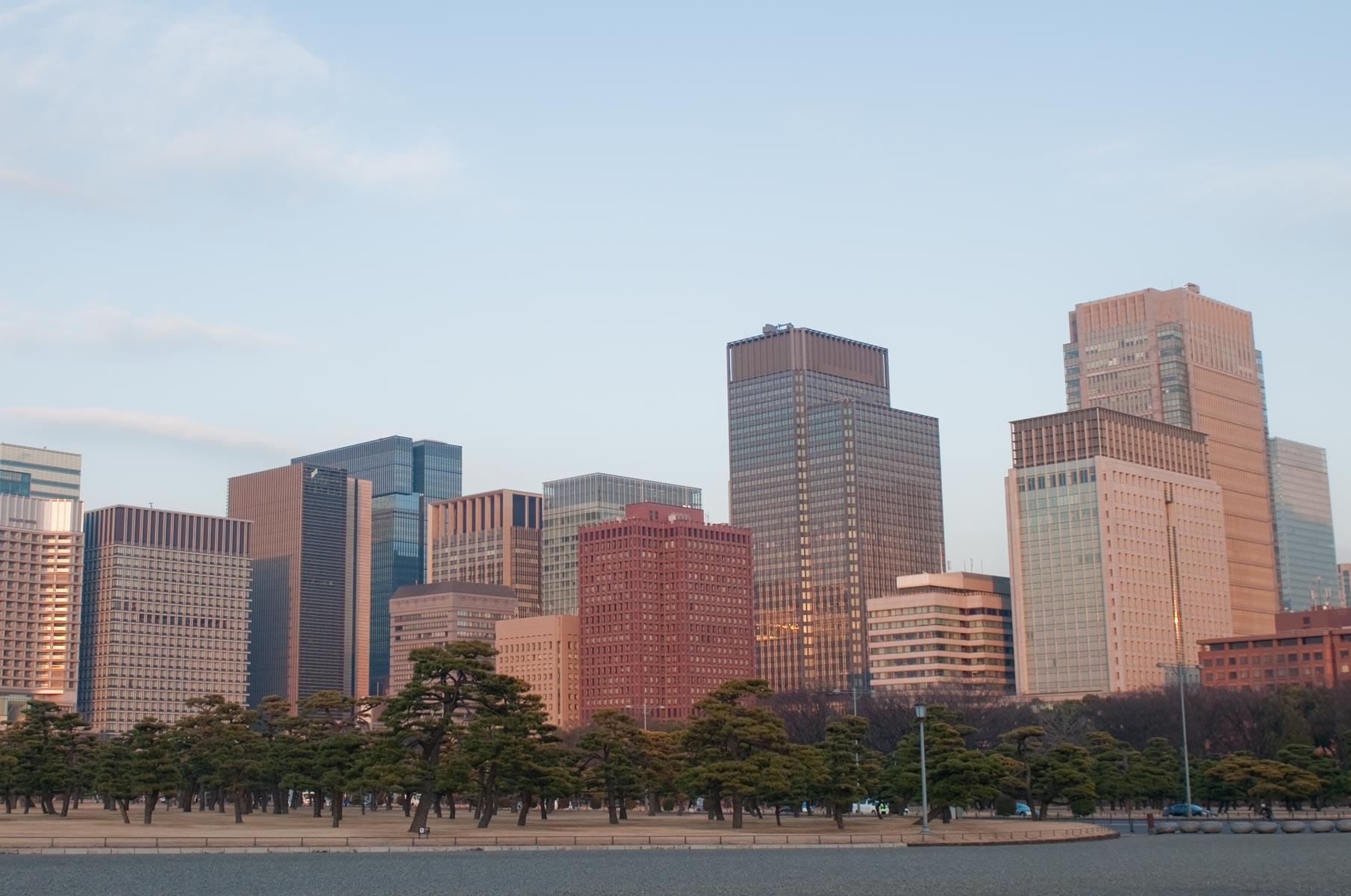 Blick auf Business Viertel in Tokyo, Japan