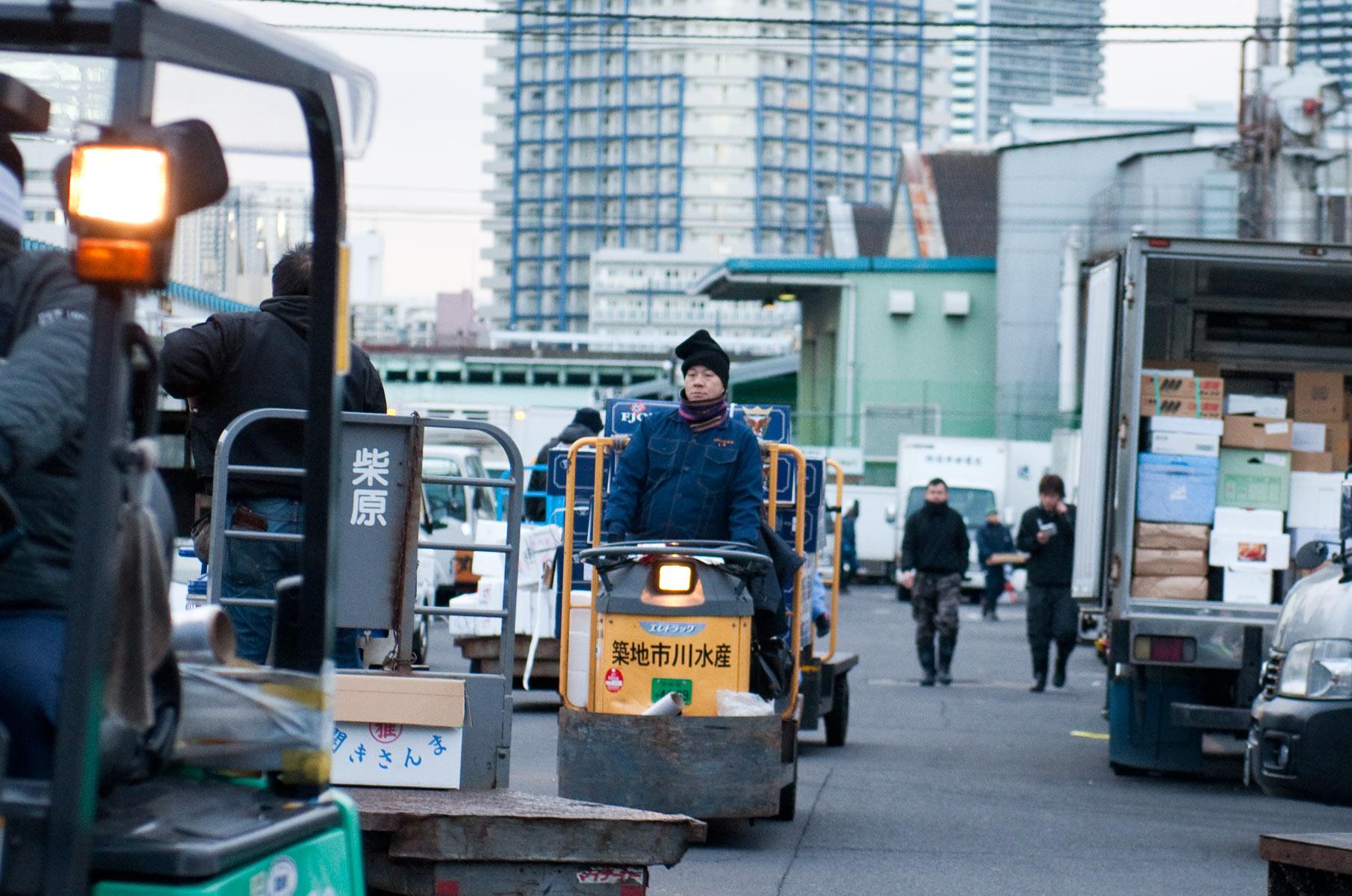 Tsukiji Fischmarkt in Tokyo am frühen Morgen, Japan