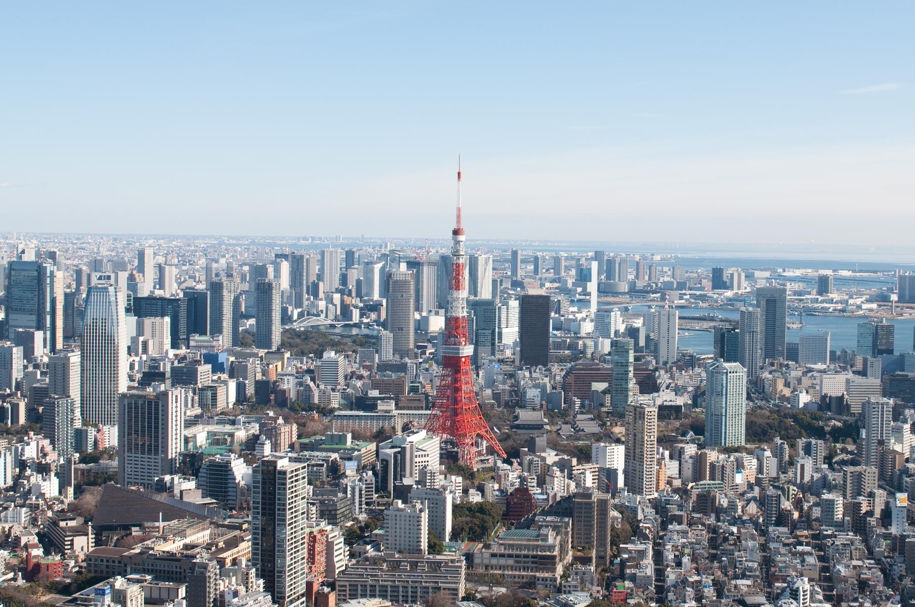 Blick auf den Tokyo Tower vom Tokyo City View Observation Deck, Japan