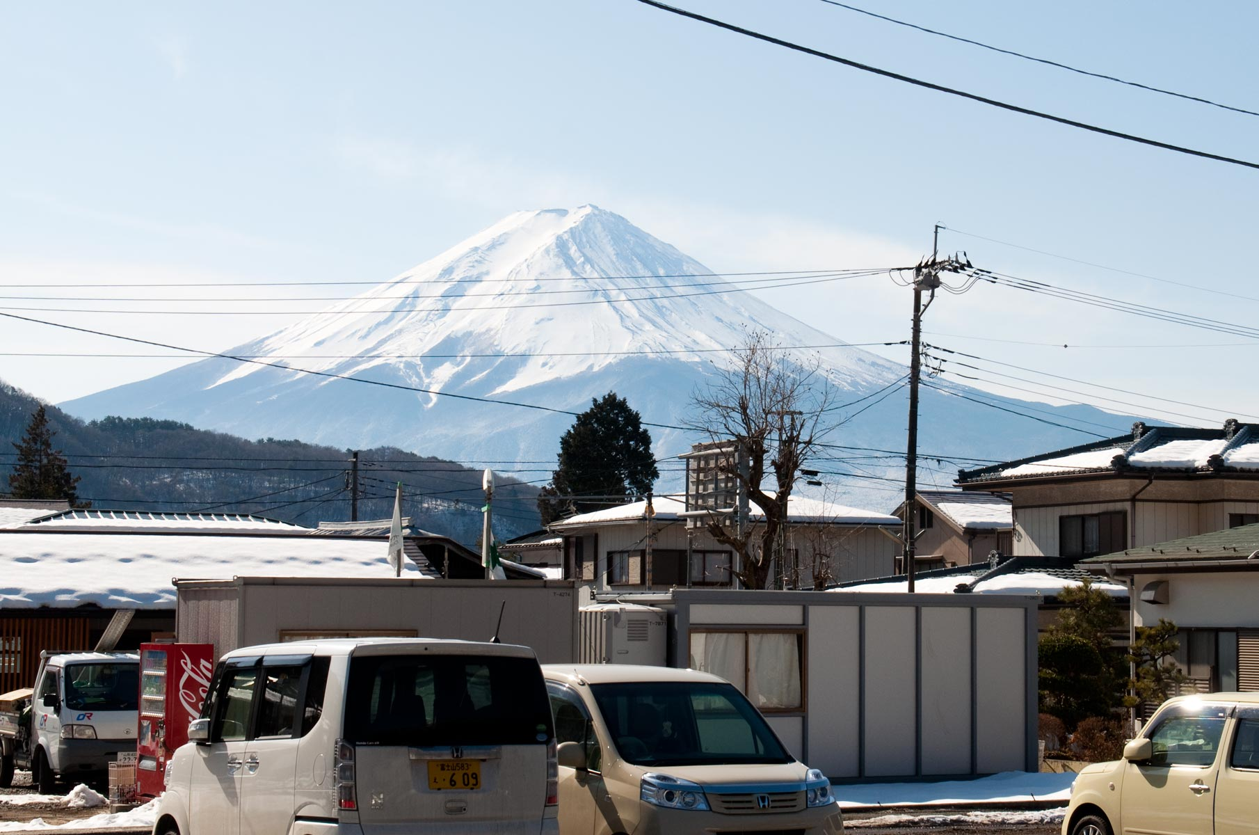 Blick auf den Mt. Fuji im Winter in Japan