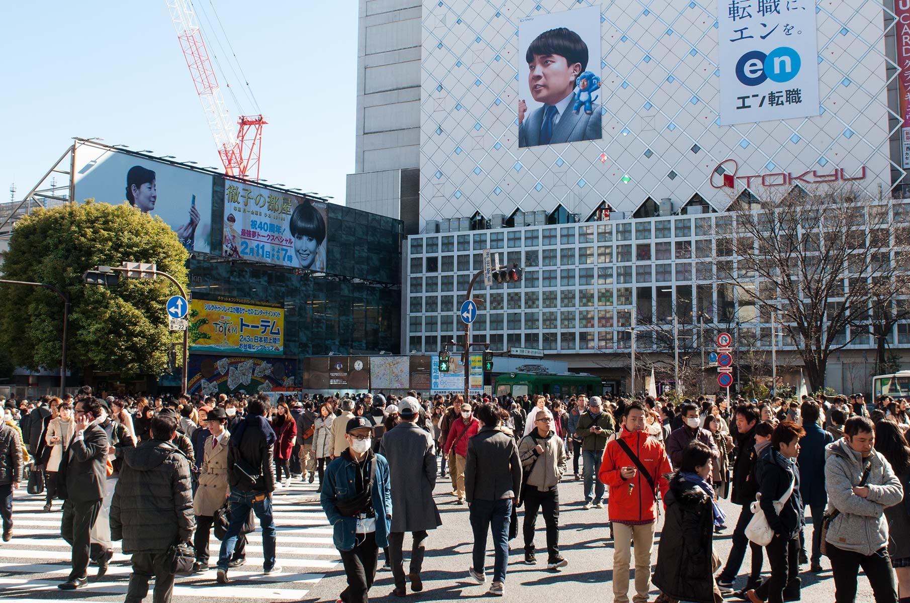 Fußgängerkreuzung in Shibuya in Tokyo, Japan