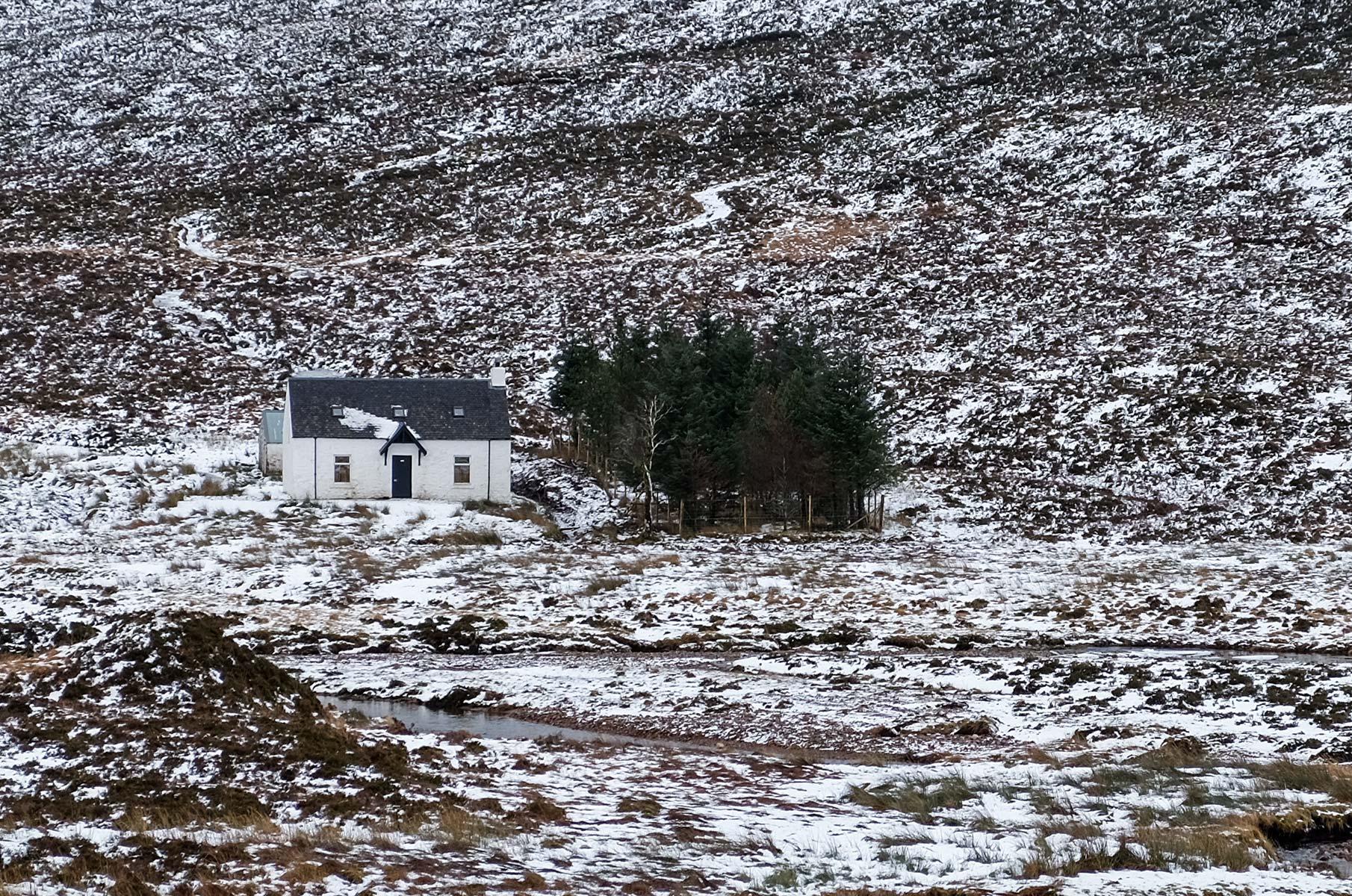 Blick auf den Buachaille Etive Mor im Winter, Schottland