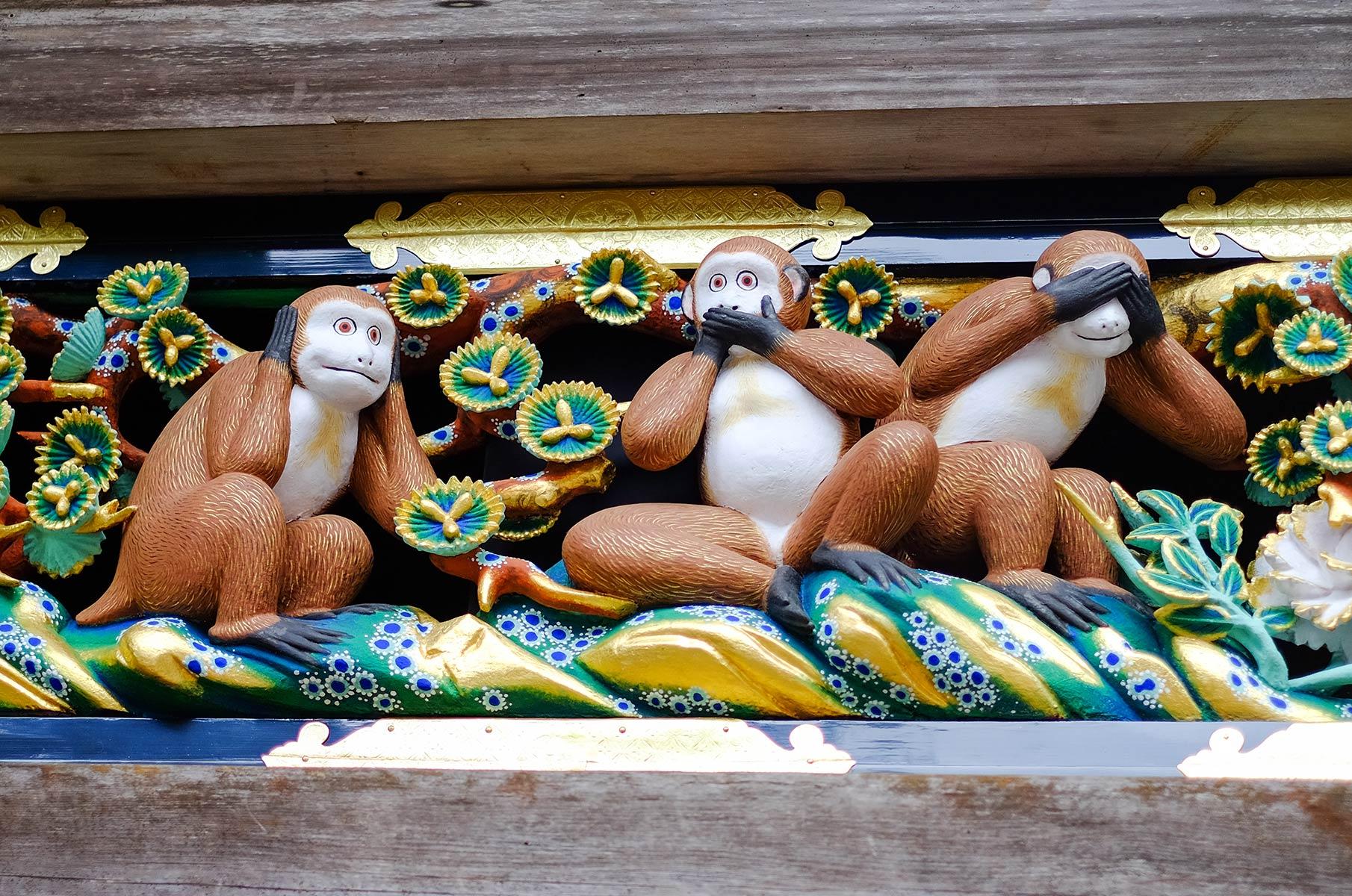 Toshugu Schrein Three Wise Monkeys in Nikko, Japan