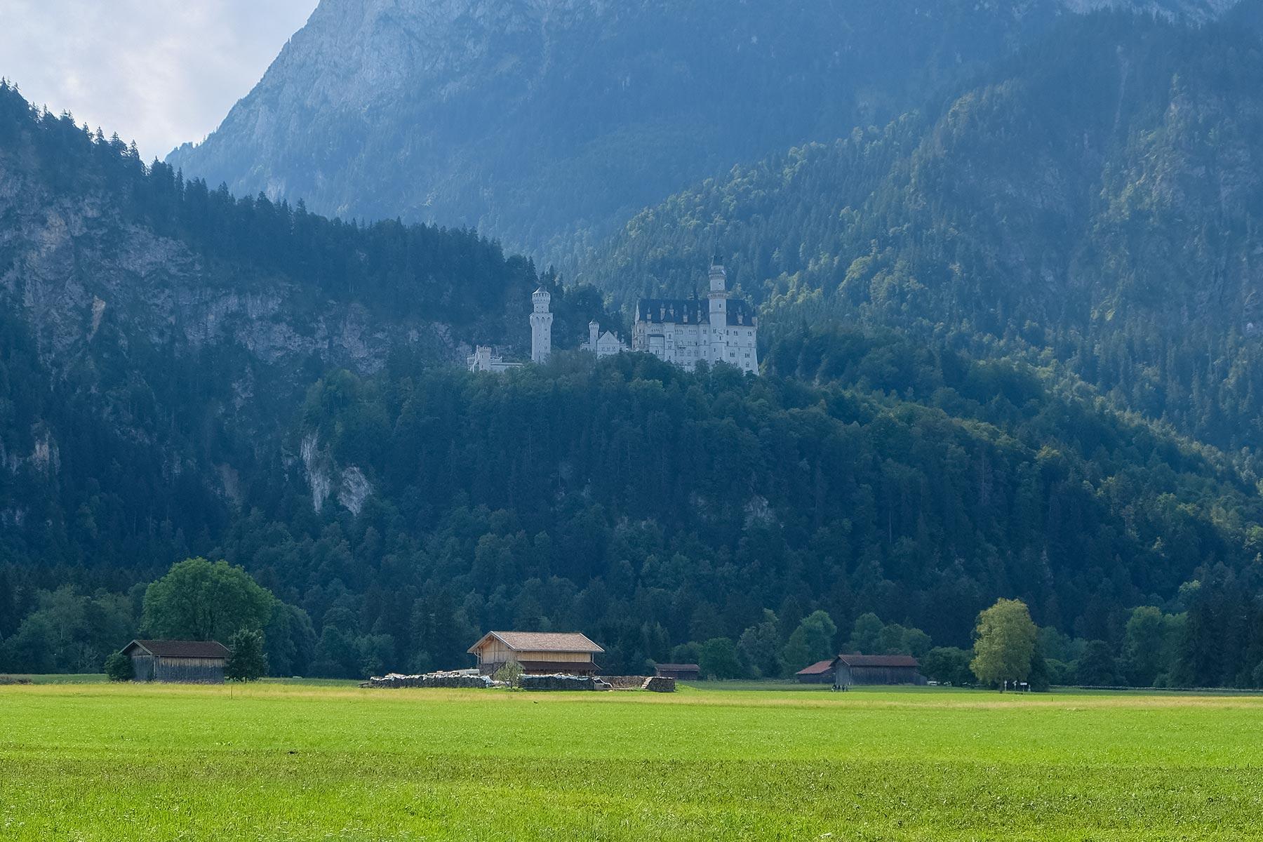Blick auf Schloss Neuschwanstein von der Colomannstraße