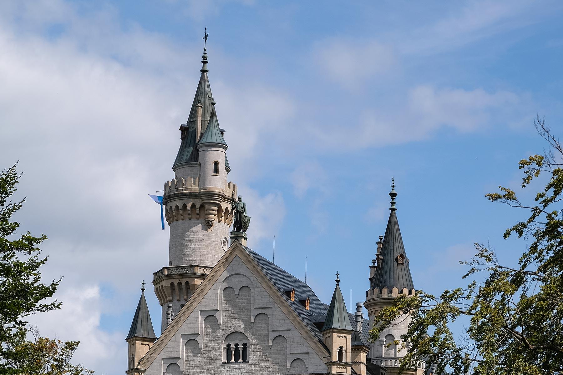 Außenansicht des Schloss Neuschwanstein in Hohenschwangau