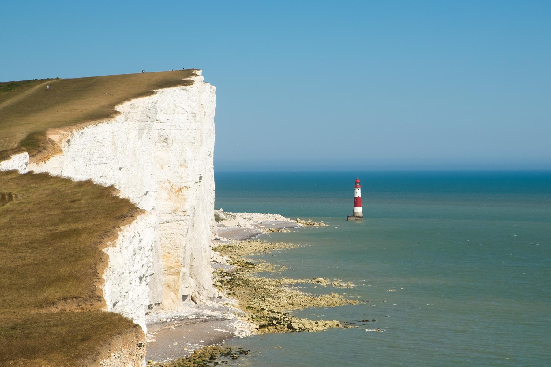 Beachy Head Leuchtturm an den Seven Sisters Weiße Klippen an der Südküste von England