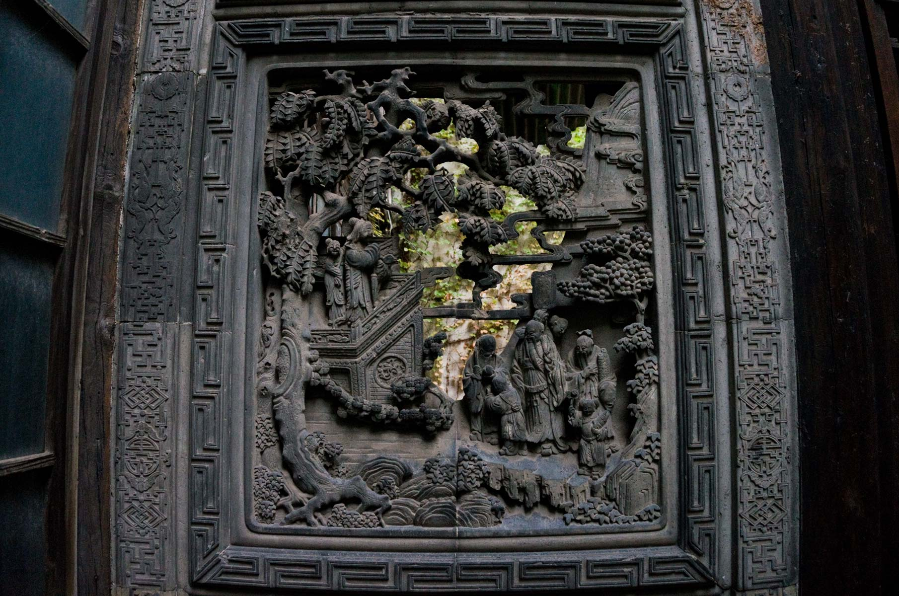 Kunstvolles Fenster im Shuyinlou 书隐楼 Anwesen in Shanghai, China