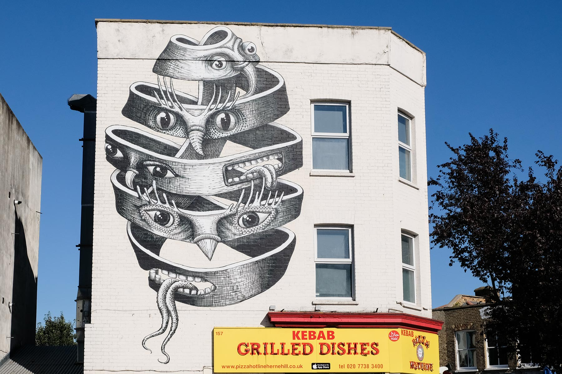 Street Art London - Phlegm, 143 Dulwich Road, Herne Hill