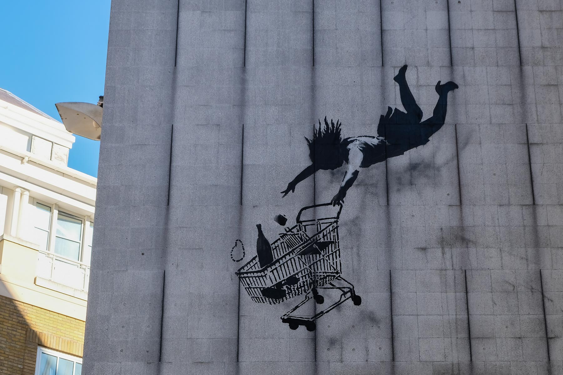 Street Art London - Banksy 'Shop Until You Drop' - Bruton Lane, Mayfair