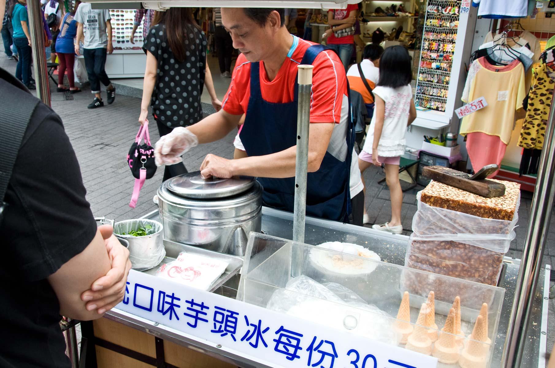 Erdnuss Eiscreme Street im Vergnügungsviertel Ximending in Taipei, Taiwan