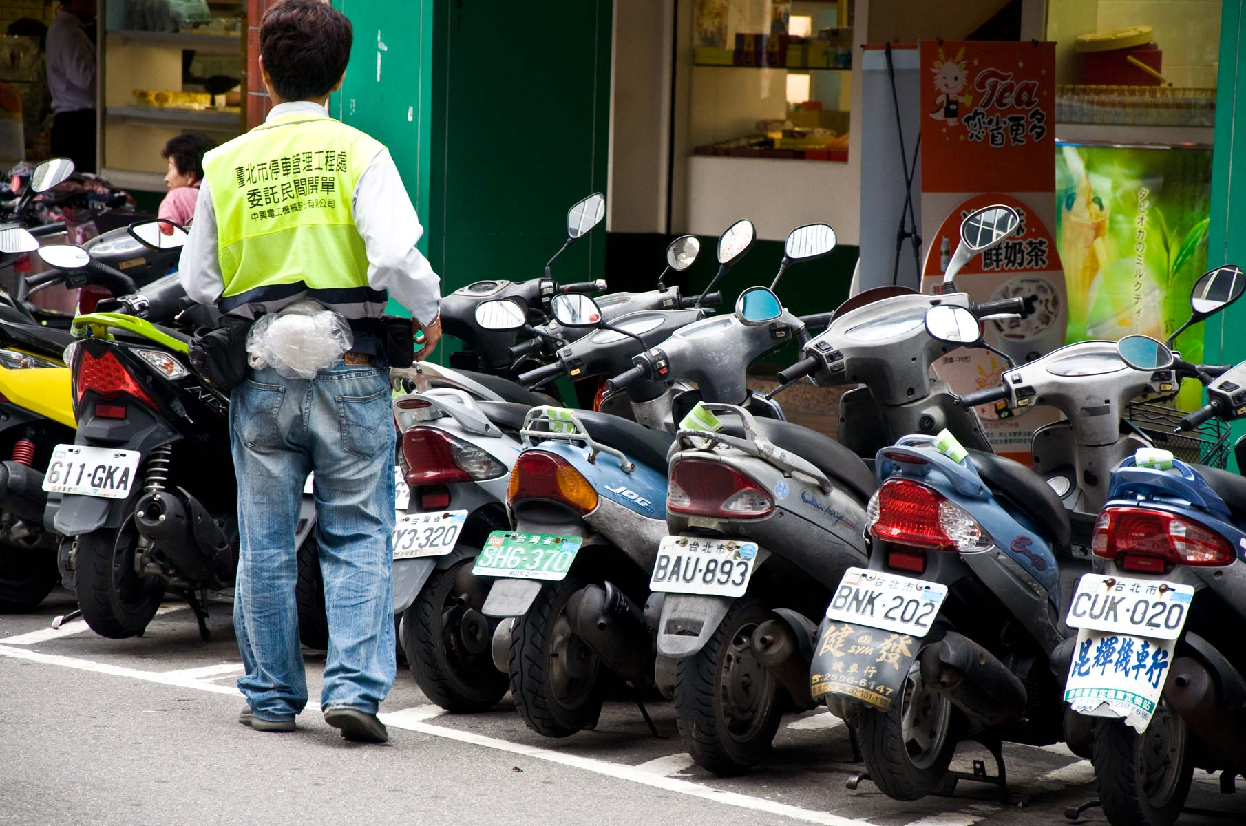 Parkende Motorroller in Taipei, Taiwan