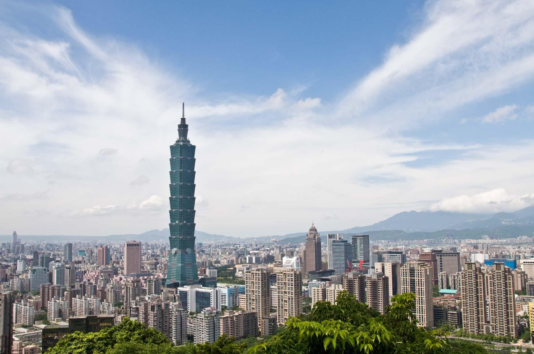 Blick auf Taipei und Taipei 101 vom Elephant Mountain