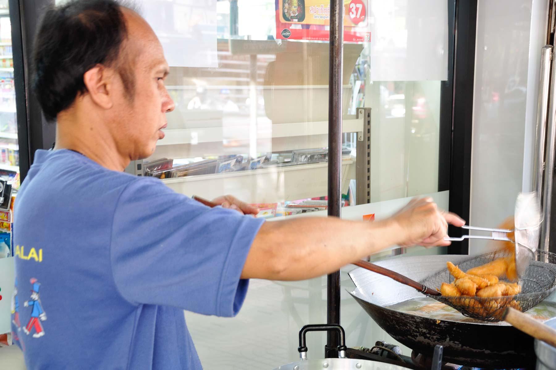 Gebackene Bananen Streetfood in Bangkok, Thailand