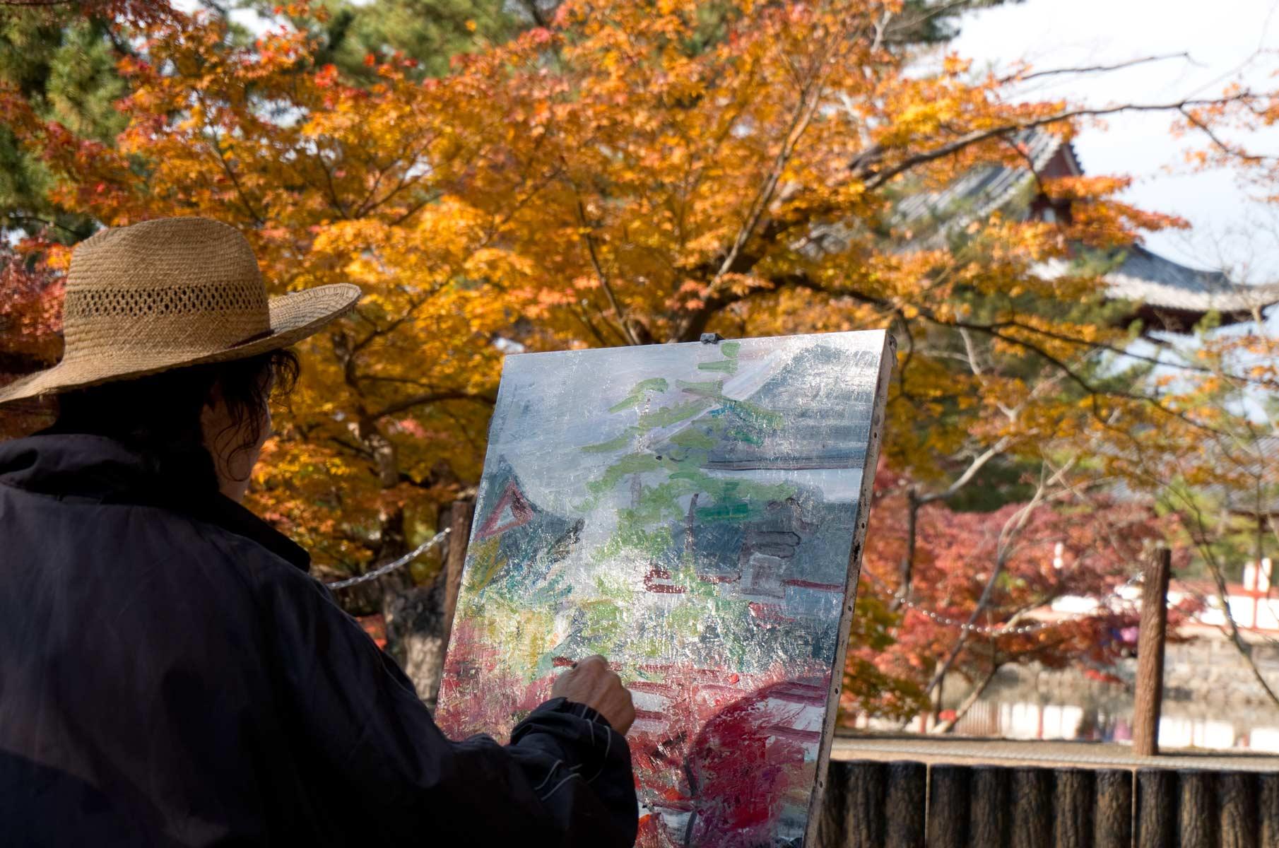 Maler im Nara Park in Nara, Japan